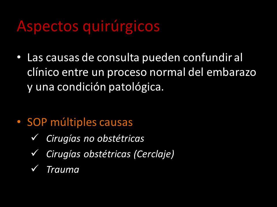 Aspectos quirúrgicos Las causas de consulta pueden confundir al clínico entre un proceso normal del embarazo y una condición patológica.