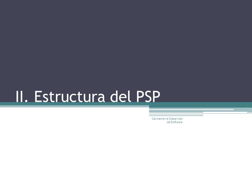 II. Estructura del PSP Calidad en el Desarrollo de Software