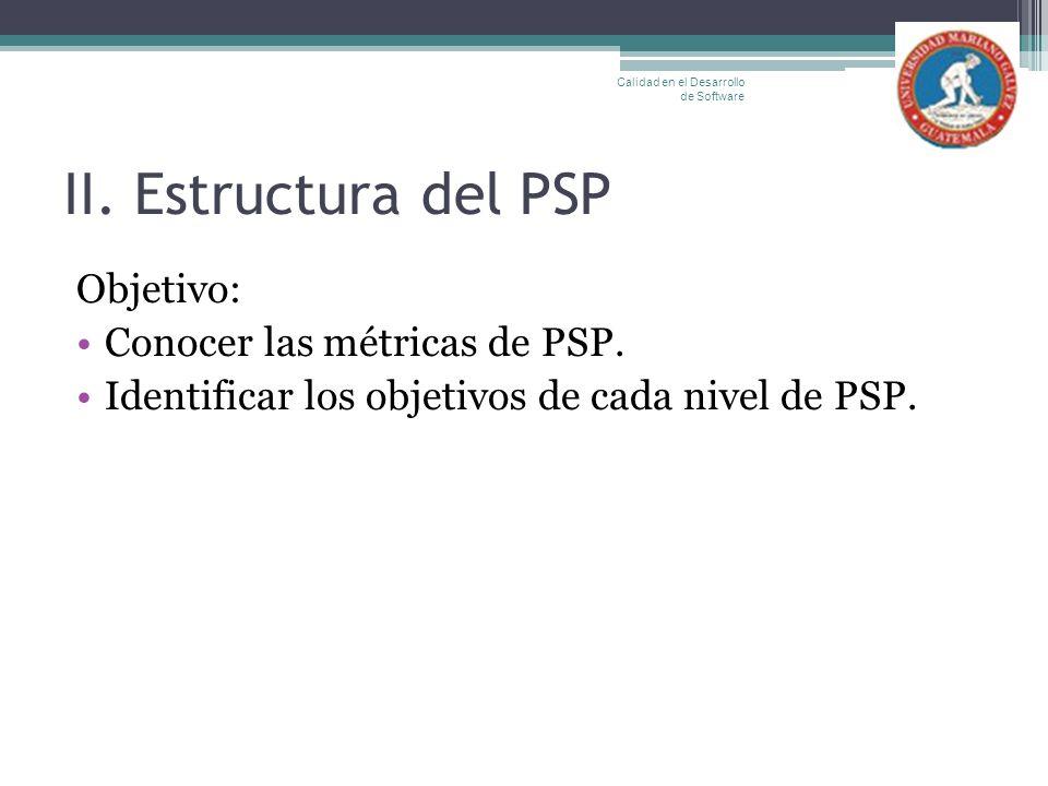 II. Estructura del PSP Objetivo: Conocer las métricas de PSP.