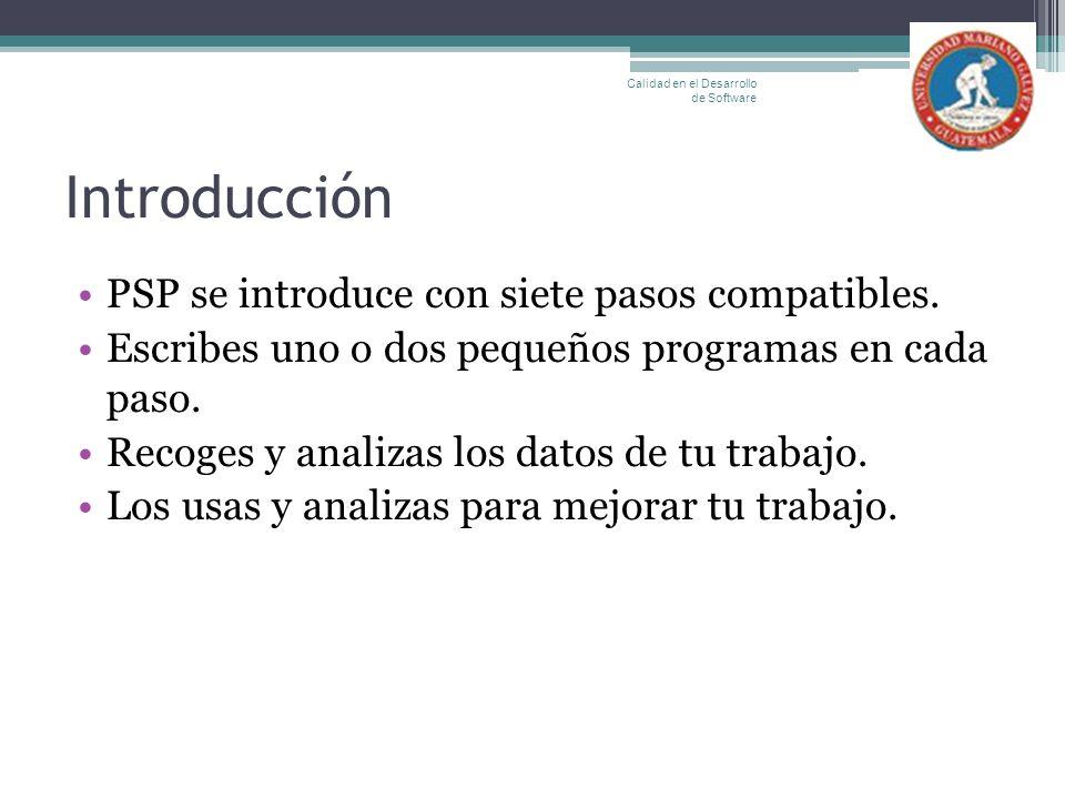 Introducción PSP se introduce con siete pasos compatibles.