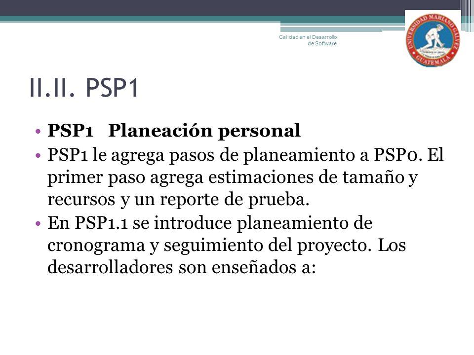 II.II. PSP1 PSP1 Planeación personal