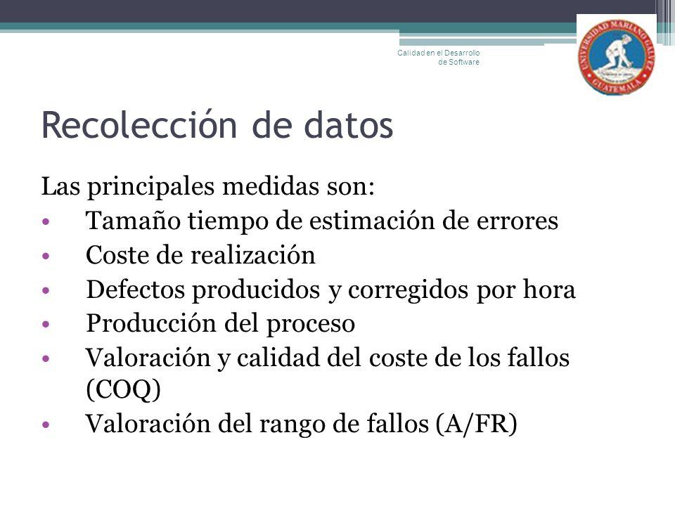 Recolección de datos Las principales medidas son: