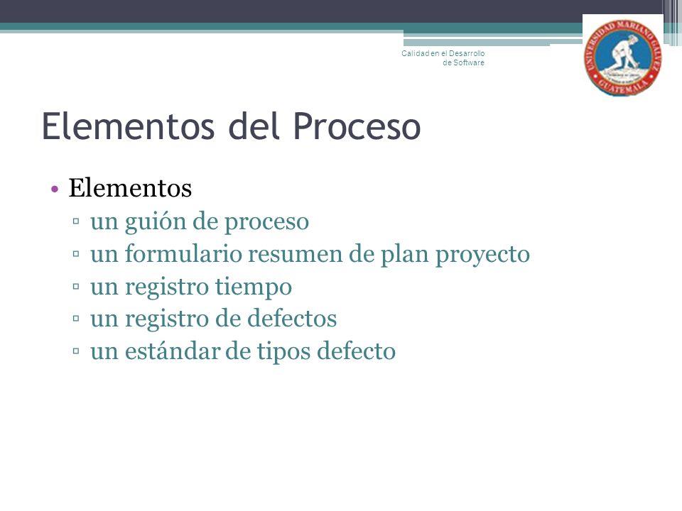Elementos del Proceso Elementos un guión de proceso