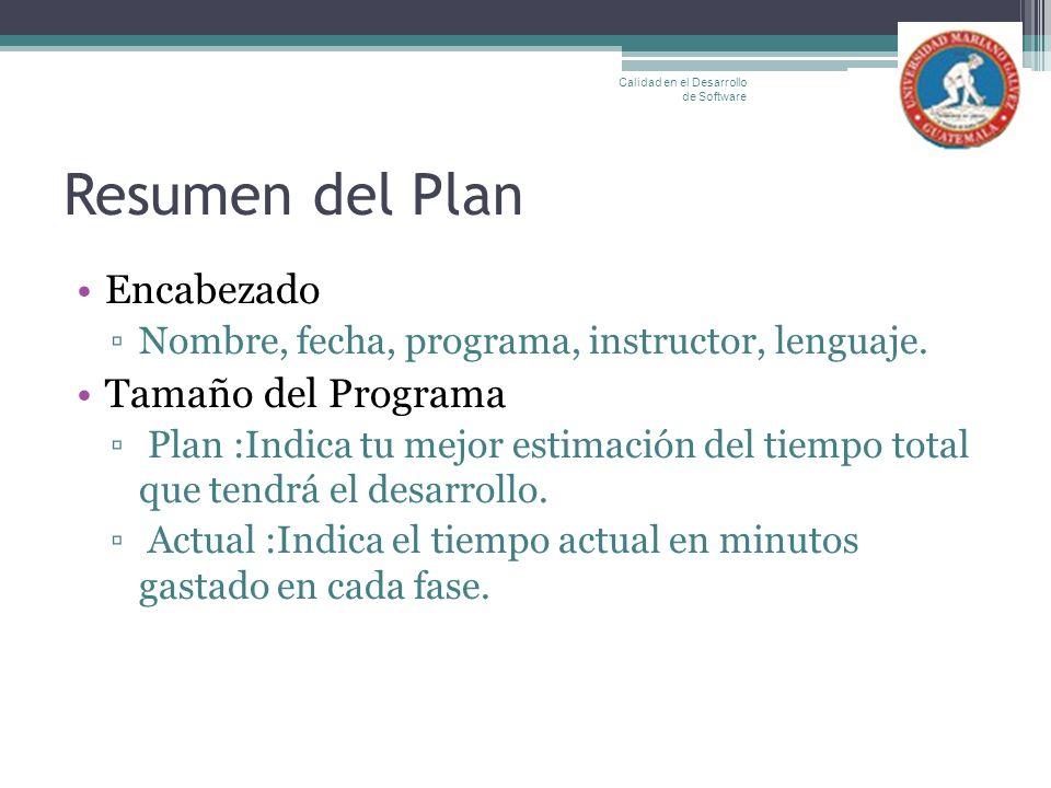 Resumen del Plan Encabezado Tamaño del Programa