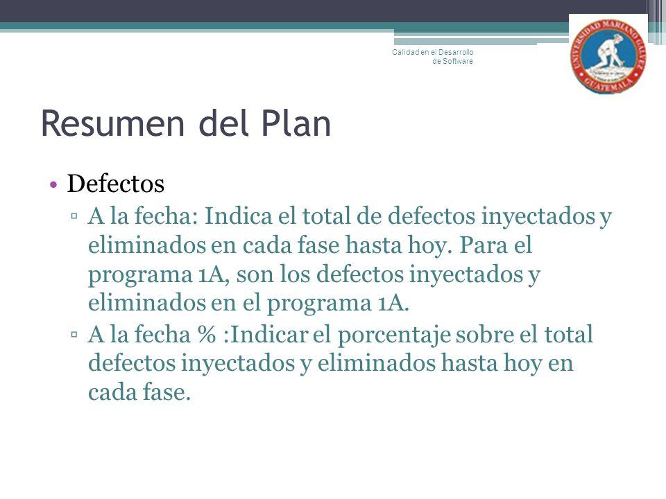 Resumen del Plan Defectos