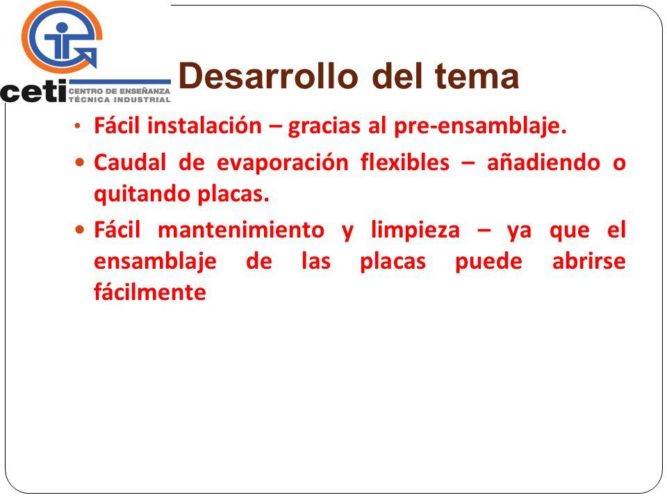 Desarrollo del tema Fácil instalación – gracias al pre-ensamblaje.