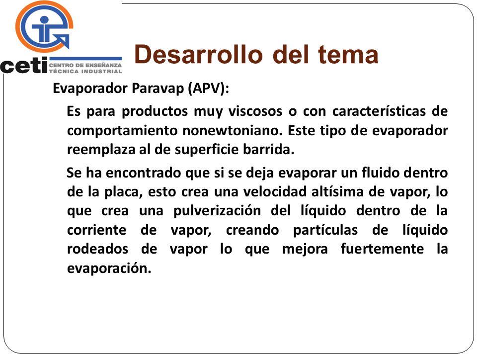Desarrollo del tema Evaporador Paravap (APV):