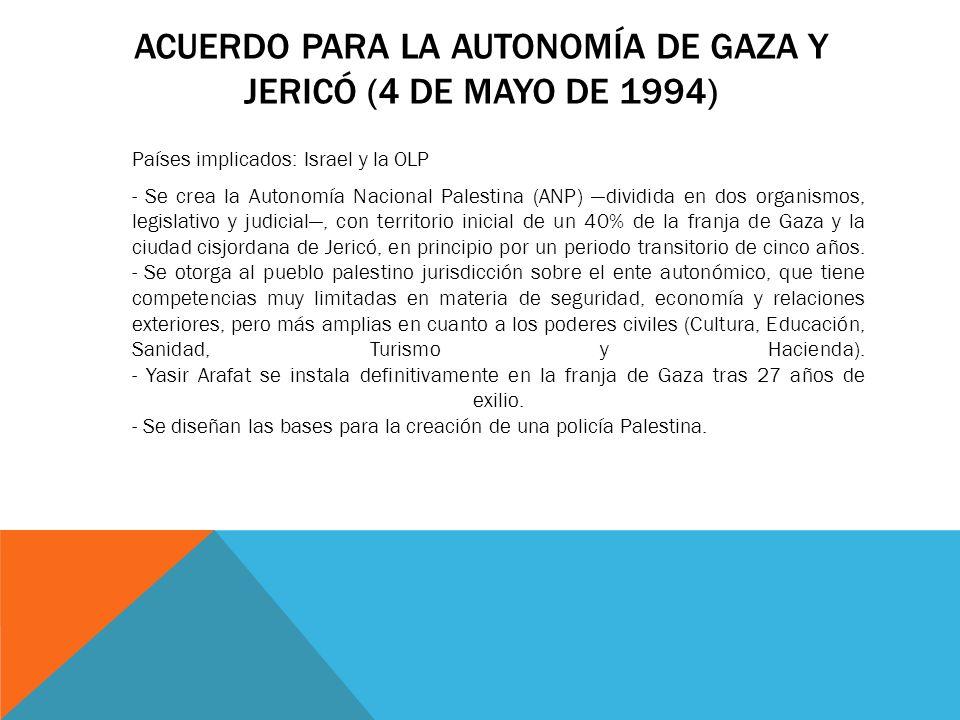 Acuerdo para la autonomía de gaza y Jericó (4 de mayo de 1994)