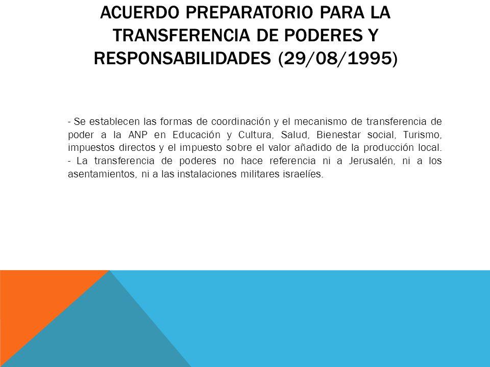 Acuerdo preparatorio para la transferencia de poderes y responsabilidades (29/08/1995)