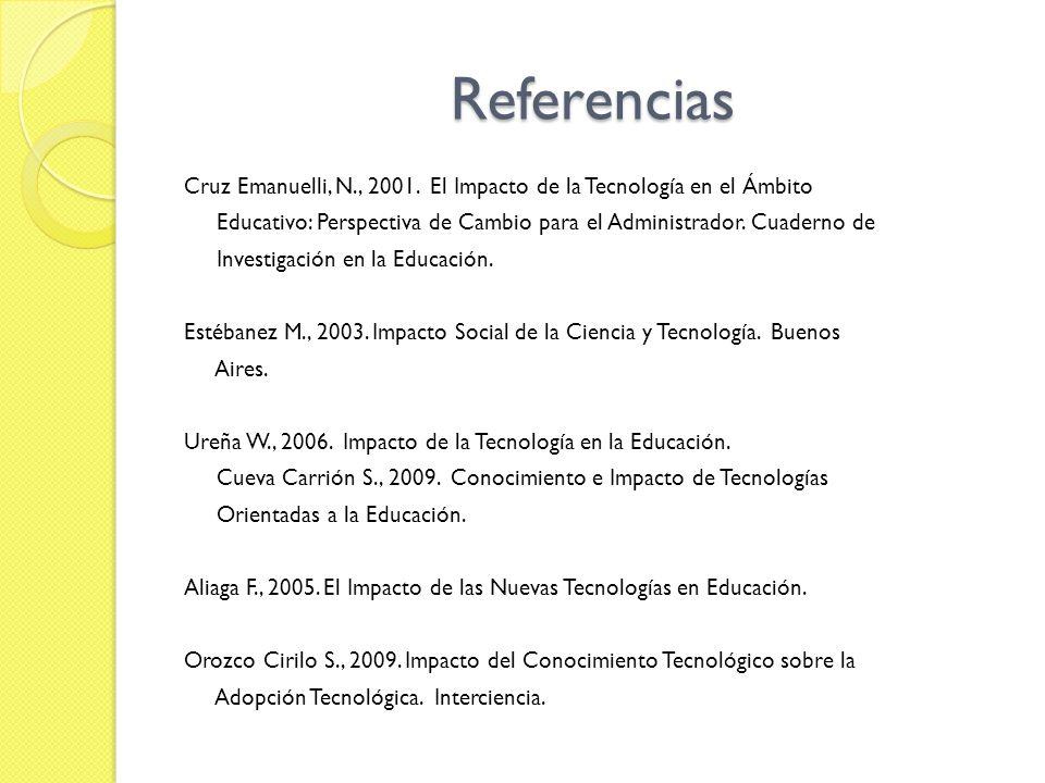 Referencias Cruz Emanuelli, N., 2001. El Impacto de la Tecnología en el Ámbito. Educativo: Perspectiva de Cambio para el Administrador. Cuaderno de.