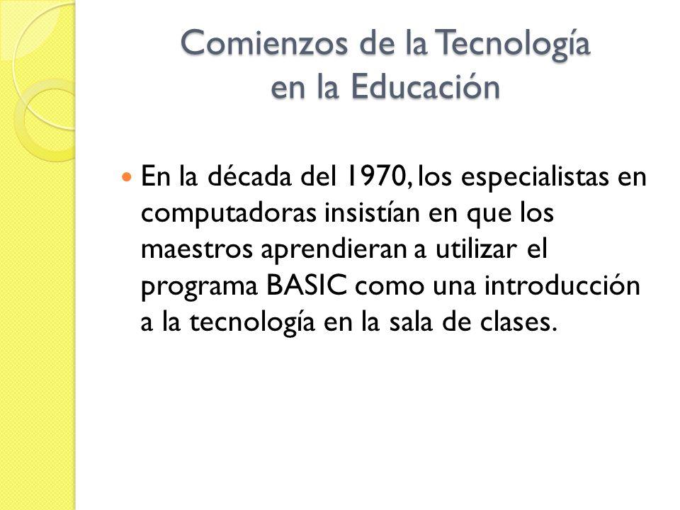 Comienzos de la Tecnología en la Educación