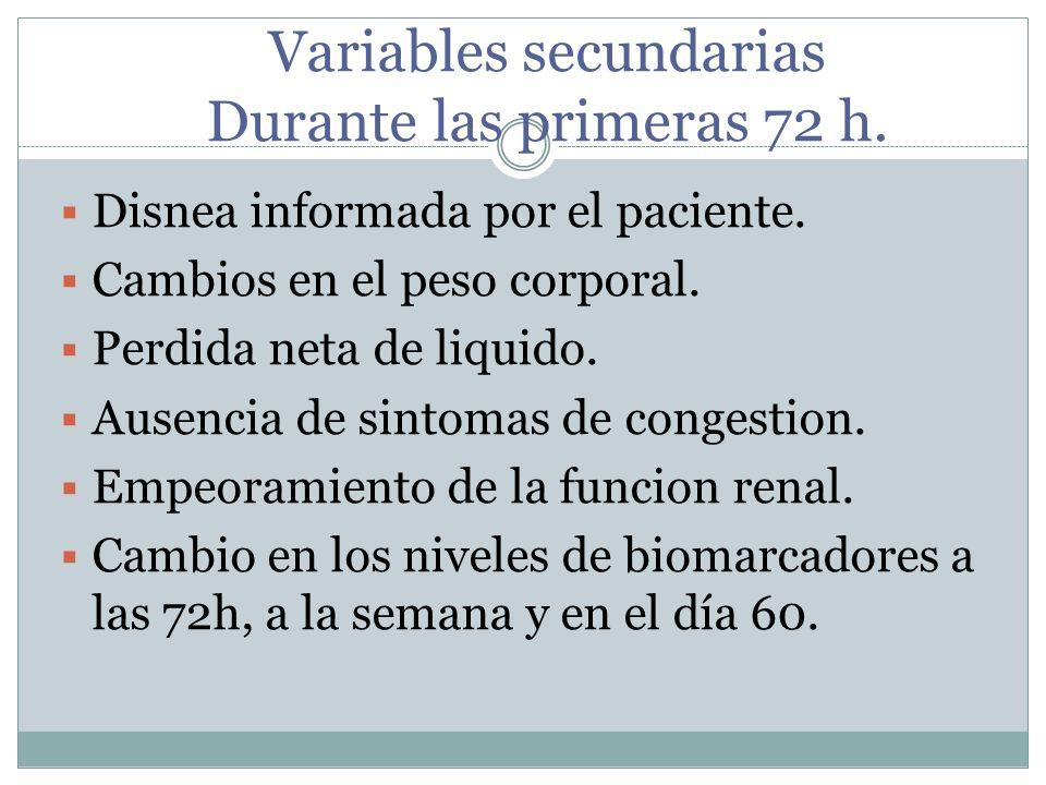 Variables secundarias Durante las primeras 72 h.