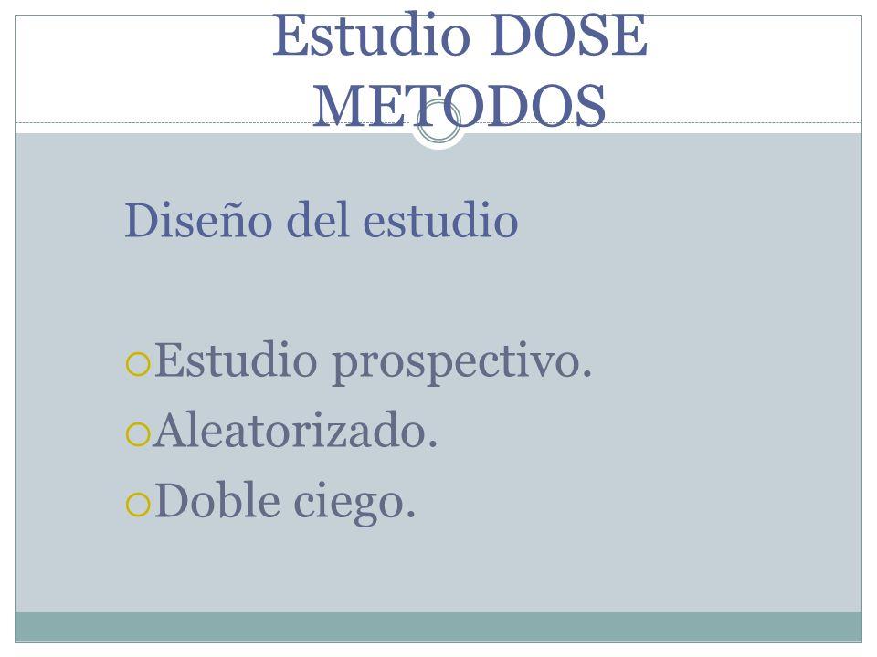 Estudio DOSE METODOS Diseño del estudio Estudio prospectivo.