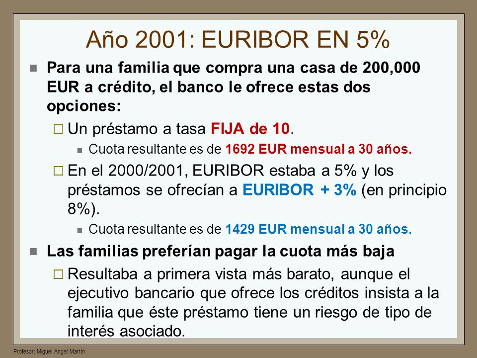 Año 2001: EURIBOR EN 5%Para una familia que compra una casa de 200,000 EUR a crédito, el banco le ofrece estas dos opciones: