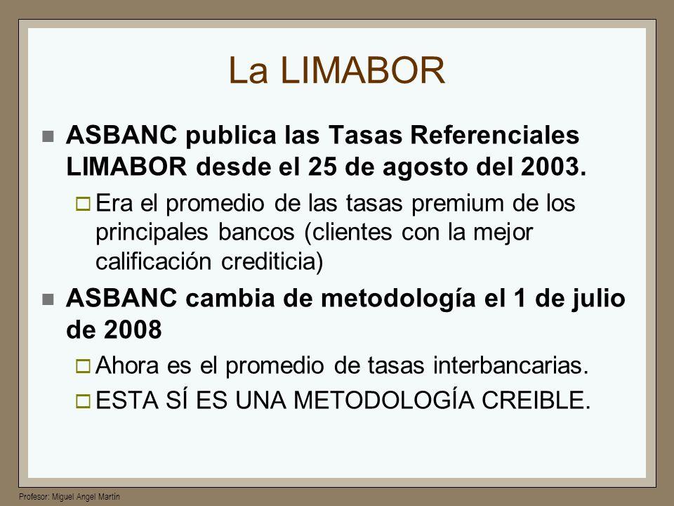 La LIMABORASBANC publica las Tasas Referenciales LIMABOR desde el 25 de agosto del 2003.