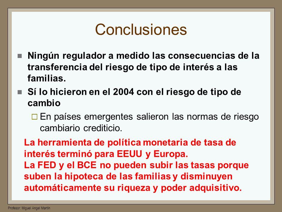 Conclusiones Ningún regulador a medido las consecuencias de la transferencia del riesgo de tipo de interés a las familias.