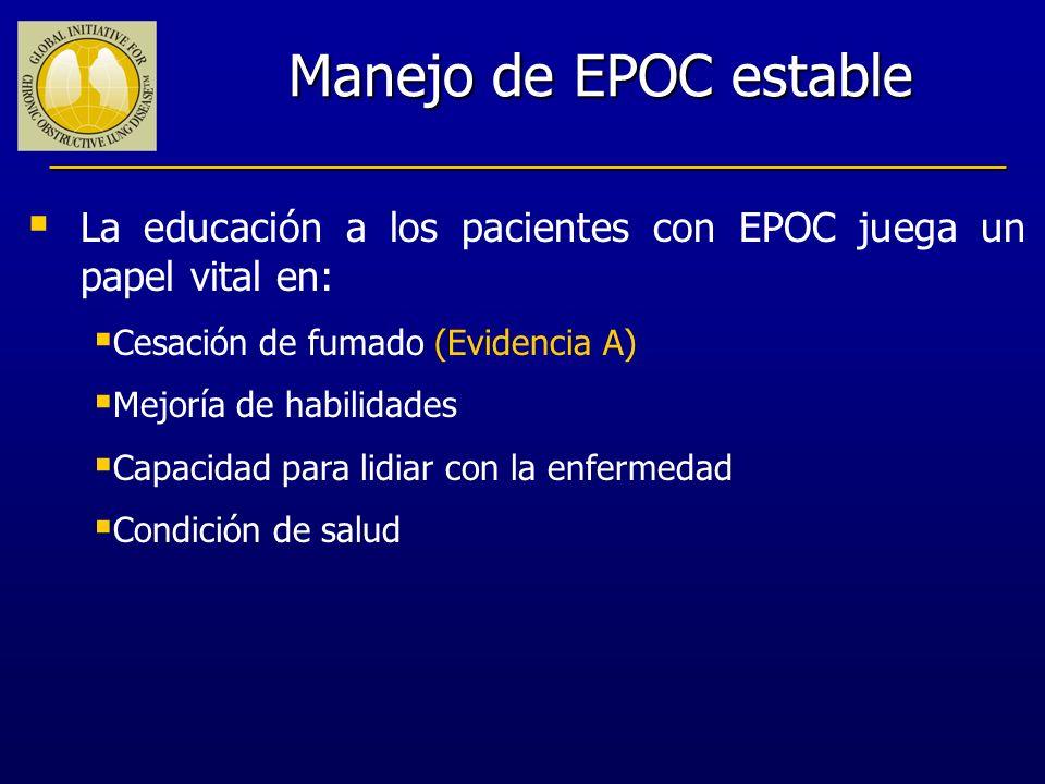 Manejo de EPOC estable La educación a los pacientes con EPOC juega un papel vital en: Cesación de fumado (Evidencia A)
