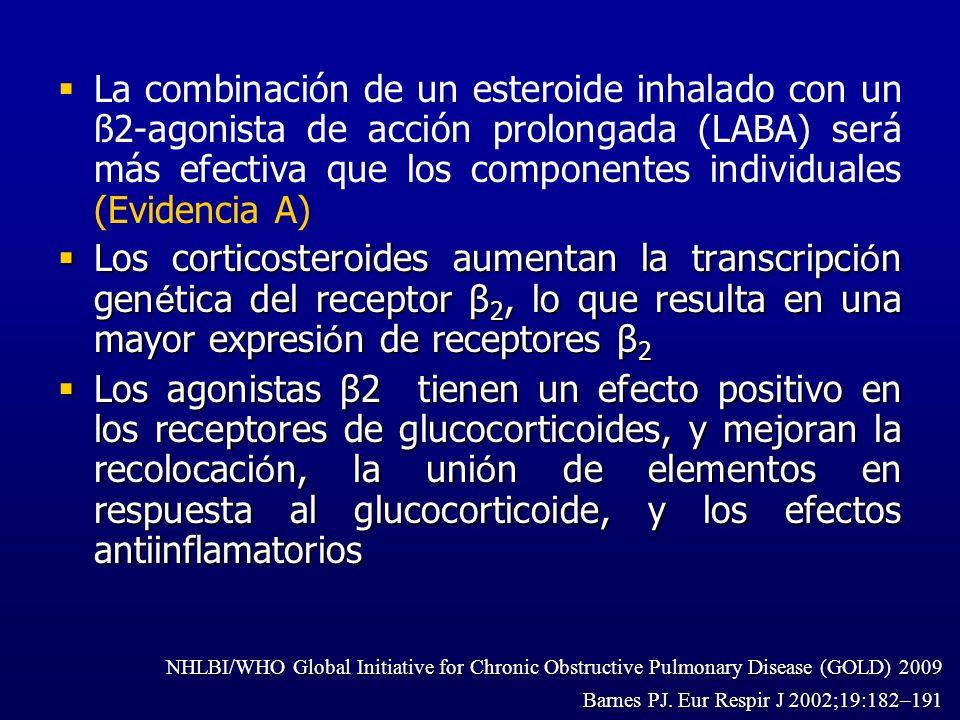 La combinación de un esteroide inhalado con un ß2-agonista de acción prolongada (LABA) será más efectiva que los componentes individuales (Evidencia A)