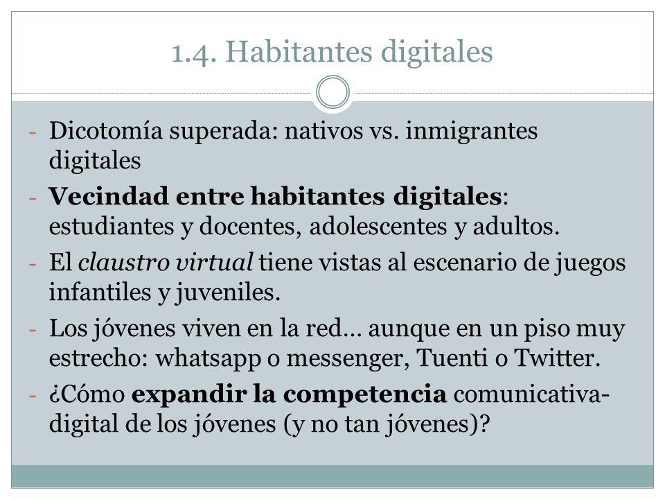 1.4. Habitantes digitales Dicotomía superada: nativos vs. inmigrantes digitales.