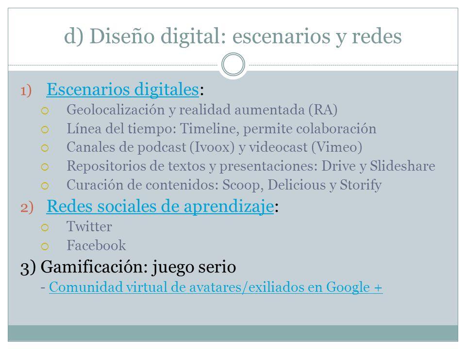 d) Diseño digital: escenarios y redes