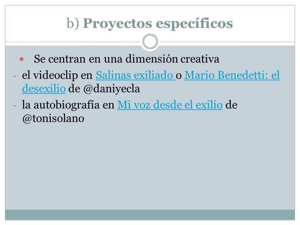 b) Proyectos específicos