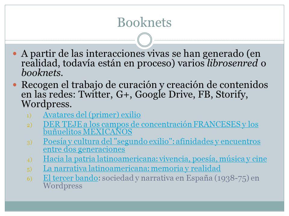 Booknets A partir de las interacciones vivas se han generado (en realidad, todavía están en proceso) varios librosenred o booknets.