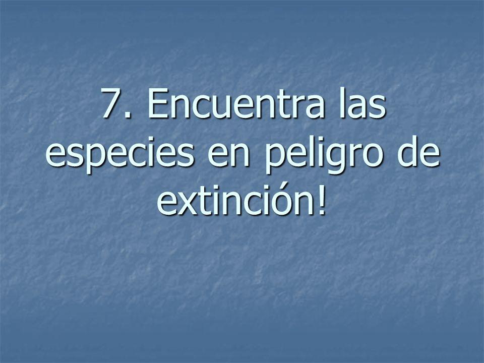 7. Encuentra las especies en peligro de extinción!