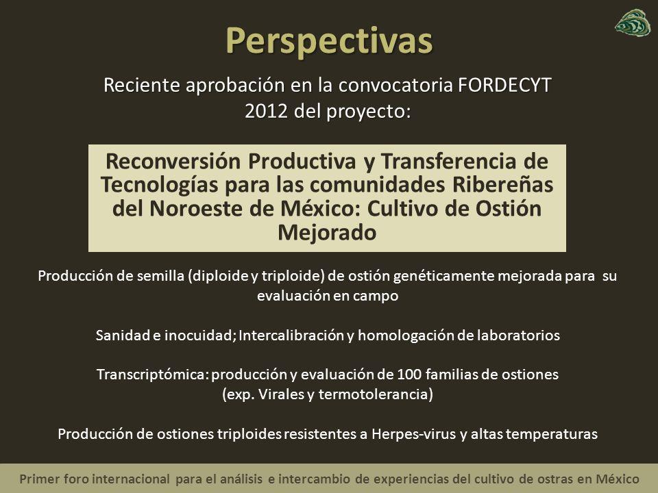Perspectivas Reciente aprobación en la convocatoria FORDECYT 2012 del proyecto: