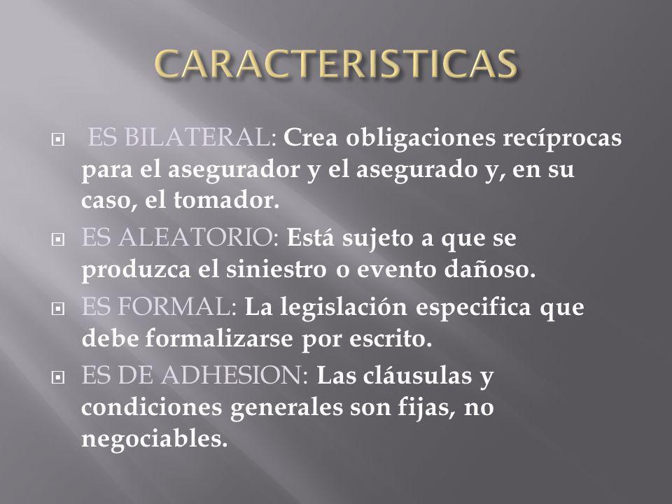 CARACTERISTICAS ES BILATERAL: Crea obligaciones recíprocas para el asegurador y el asegurado y, en su caso, el tomador.