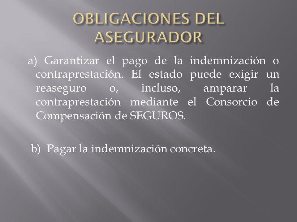 OBLIGACIONES DEL ASEGURADOR