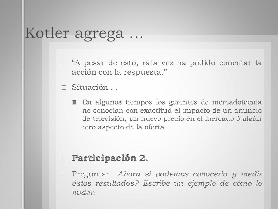 Kotler agrega … Participación 2.