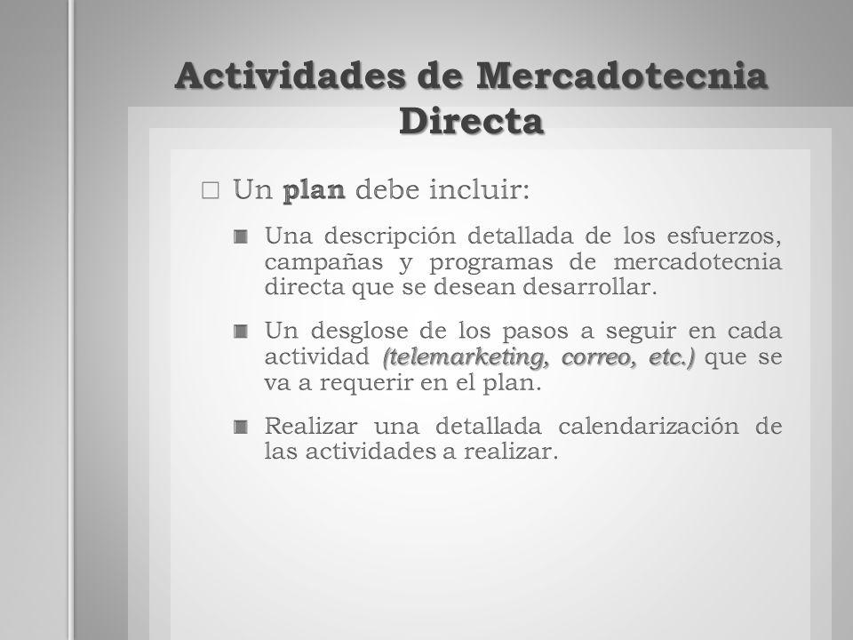 Actividades de Mercadotecnia Directa