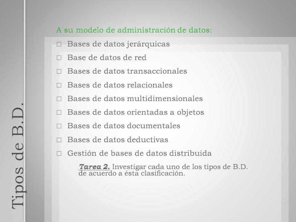 Tipos de B.D. A su modelo de administración de datos: