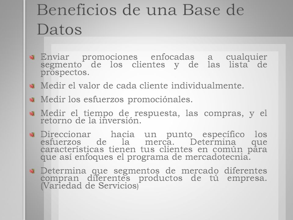 Beneficios de una Base de Datos