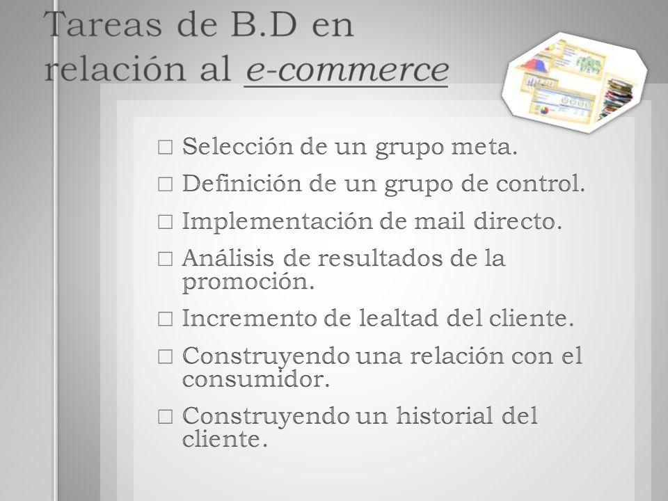Tareas de B.D en relación al e-commerce