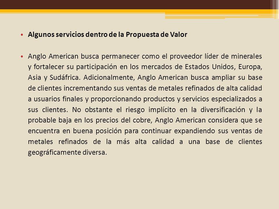 Algunos servicios dentro de la Propuesta de Valor