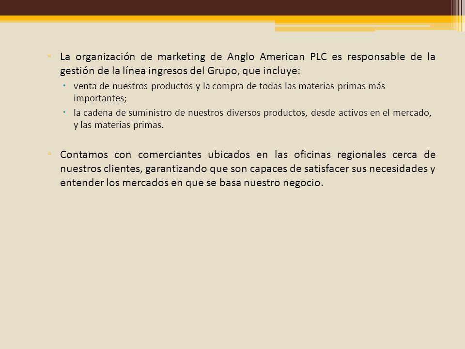 La organización de marketing de Anglo American PLC es responsable de la gestión de la línea ingresos del Grupo, que incluye: