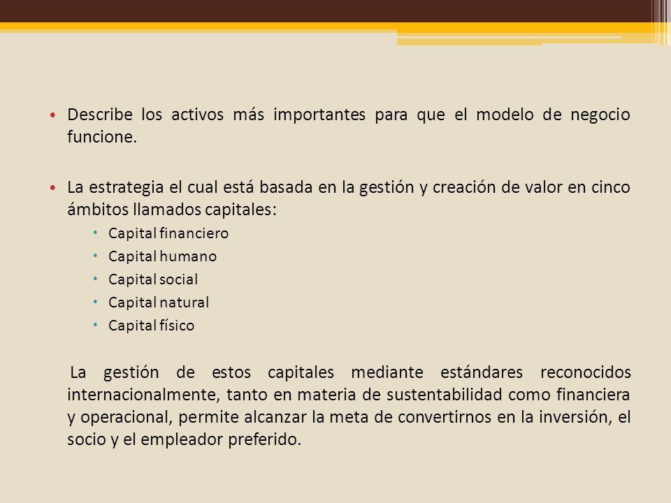 Describe los activos más importantes para que el modelo de negocio funcione.