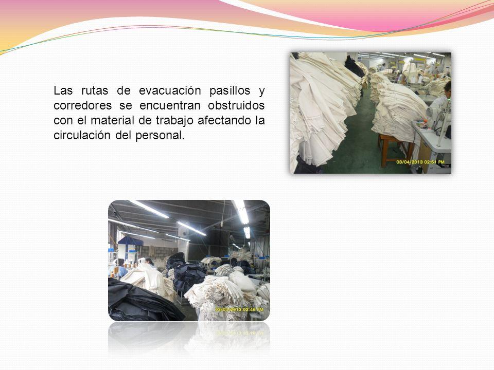 Las rutas de evacuación pasillos y corredores se encuentran obstruidos con el material de trabajo afectando la circulación del personal.