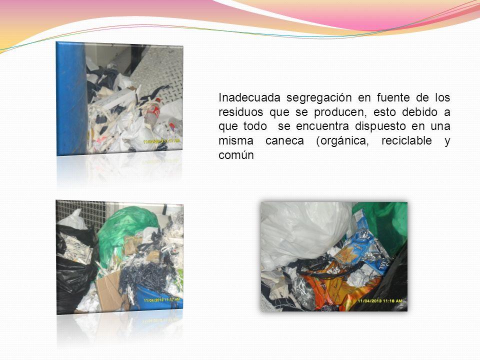 Inadecuada segregación en fuente de los residuos que se producen, esto debido a que todo se encuentra dispuesto en una misma caneca (orgánica, reciclable y común