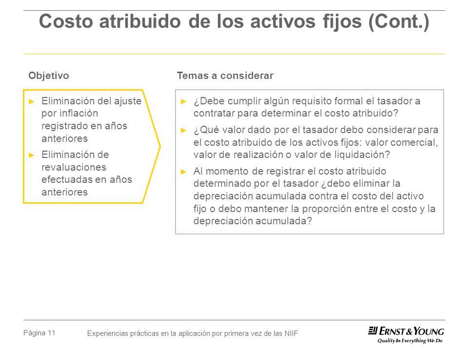 Costo atribuido de los activos fijos (Cont.)