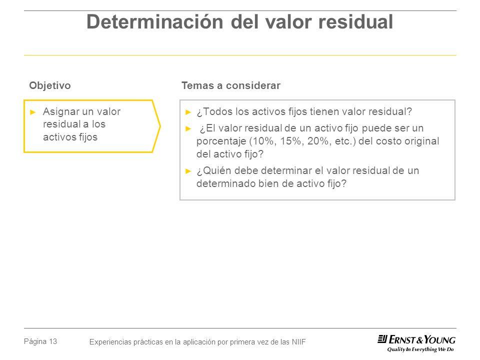 Determinación del valor residual