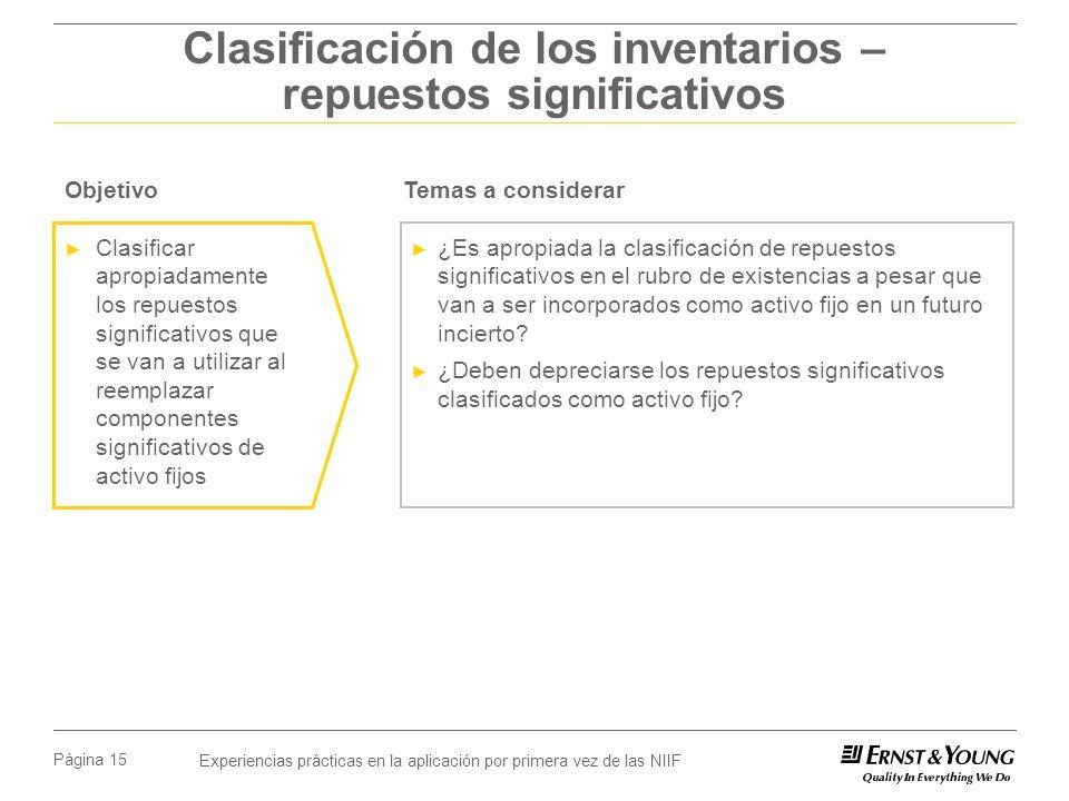 Clasificación de los inventarios – repuestos significativos