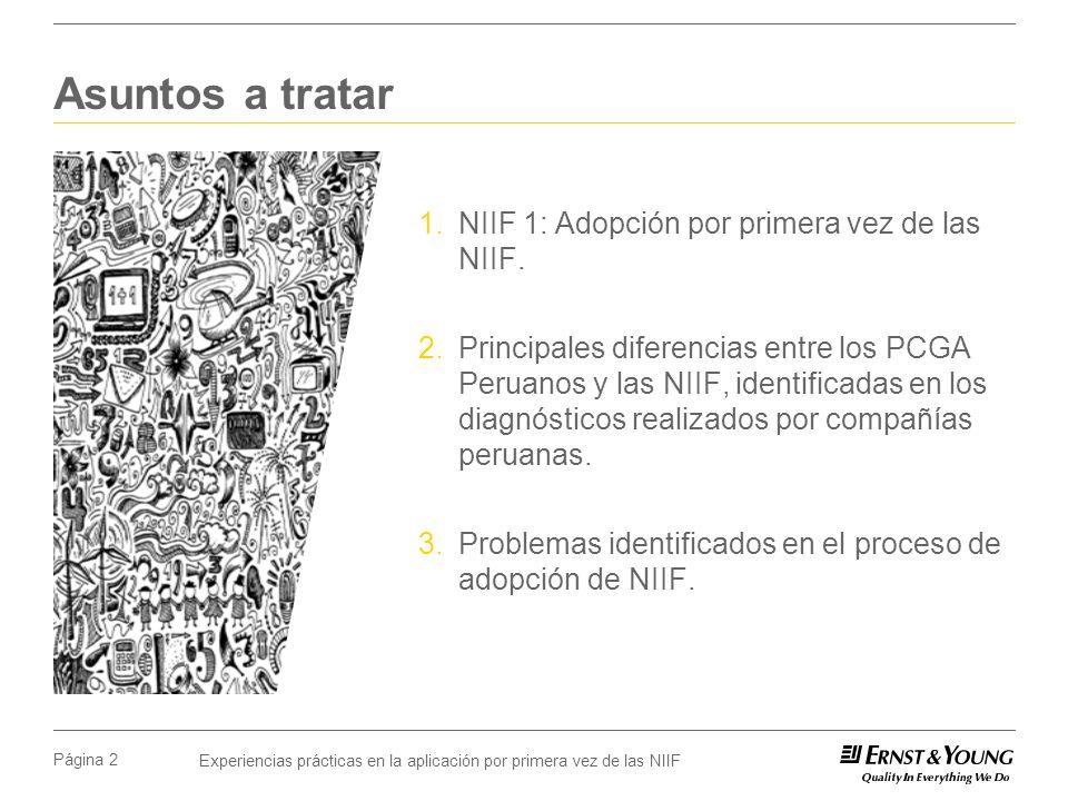 Asuntos a tratar NIIF 1: Adopción por primera vez de las NIIF.