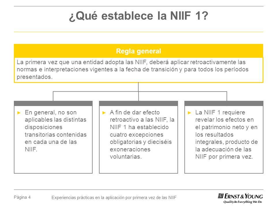 ¿Qué establece la NIIF 1 Regla general