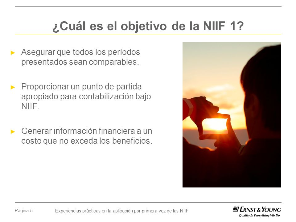 ¿Cuál es el objetivo de la NIIF 1