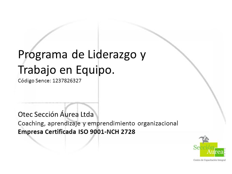 Programa de Liderazgo y Trabajo en Equipo.