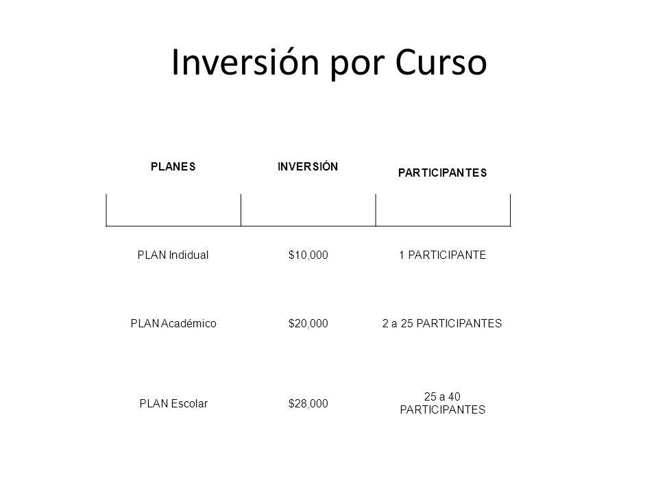 Inversión por Curso PLANES INVERSIÓN PARTICIPANTES PLAN Indidual