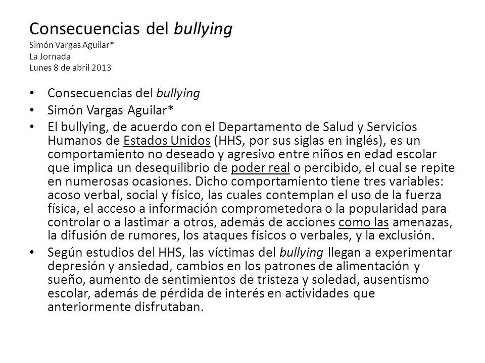 Consecuencias del bullying Simón Vargas Aguilar