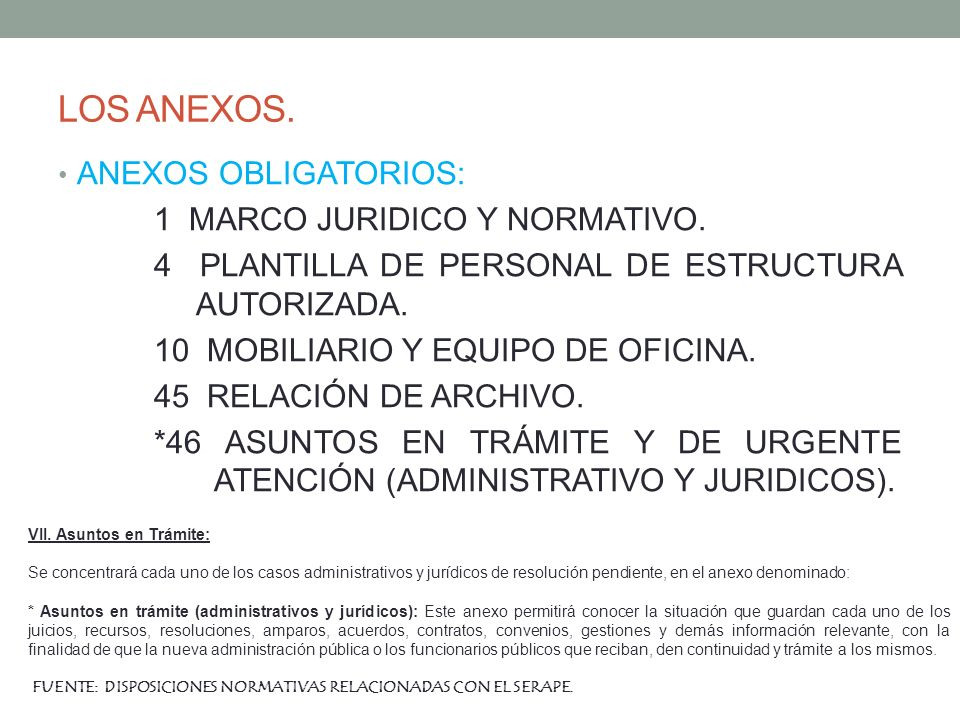LOS ANEXOS. ANEXOS OBLIGATORIOS: 1 MARCO JURIDICO Y NORMATIVO.